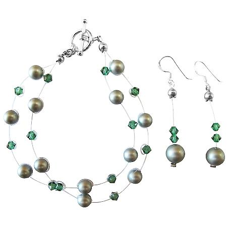 Double Stranded Powder Green Pearl Tumarine Swarovski Crystal Bracelet