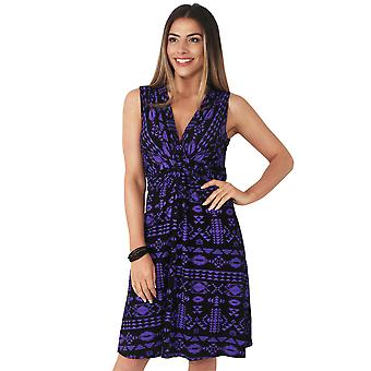 KRISP  Aztec Print Knot Front Dress