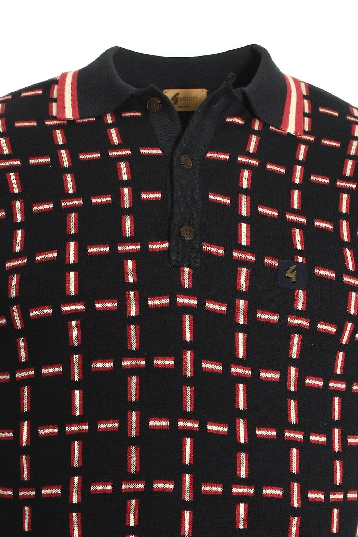 Gabicci Tipped Check Polo Shirt | Navy