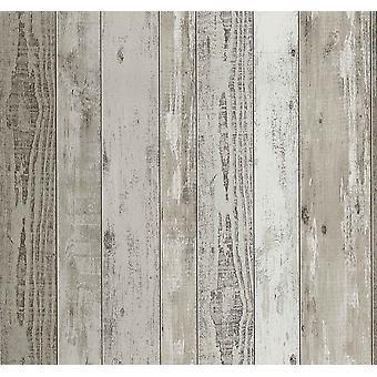 Wood Effect Wallpaper Distressed Grain Wooden Realistic Panels Vinyl P+S