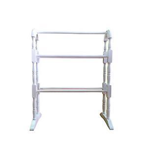 White Rubber Wooden Towel Rail 63x30x78cm Floor Standing Bathroom Rail