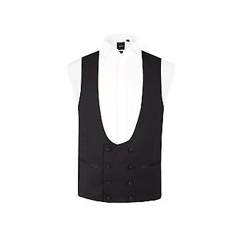 Dobell Mens Black Tuxedo Waistcoat Regular Fit 8 Button Double Breasted Horseshoe