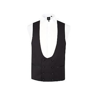 Dobell Mens smoking preto colete 8 ajuste Regular botão duplo Breasted ferradura