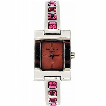 Identity London Ladies Expandable Pink Crystal Dress Watch & Bangle Gift Set