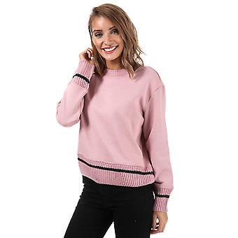 Womens Only Nanna Knit Mix Crew Neck Sweatshirt In Pink Nectar