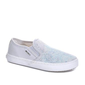 Junior Girls Geox Kilwi Slip On Pumps In Grey/Silver-Slip On Design-