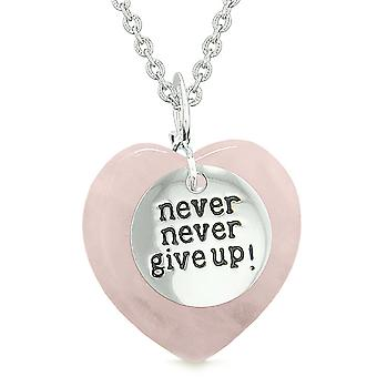 Amulet Never Give Up Inspirational Puffy Magic Lucky Heart Charm Rose Quartz Pendant 18 inch Necklace