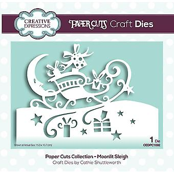 Creative Expressions Die Moonlit Sleigh Festive Wording Edgers | Paper Cuts Collection