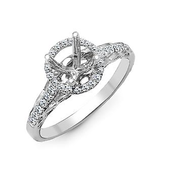 Jewelco London Solid 18ct White Gold Pave Set Round G SI1 0.35ct Diamond Semi Set Mount Engagement Ring 7.5mm