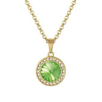 Colección Eterna Viva Peridot Austriaco Cristal Oro Tono Colgante