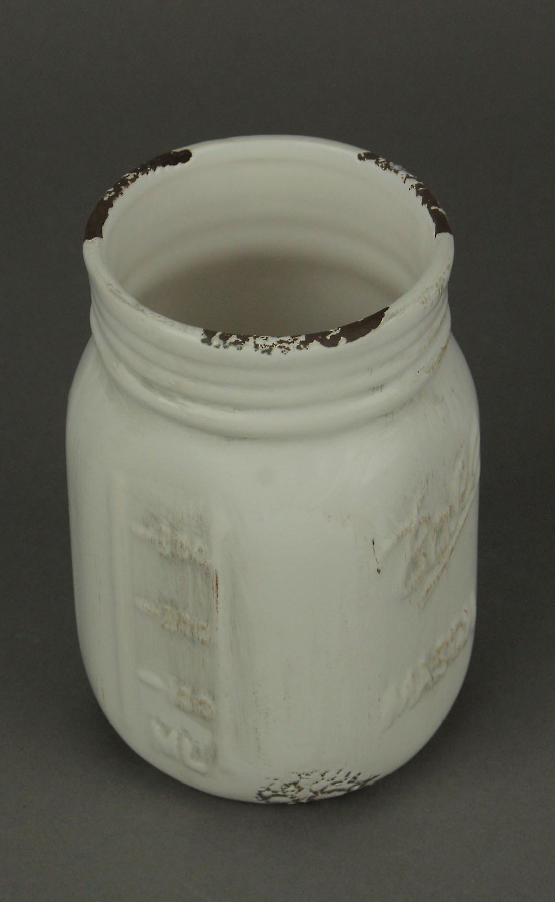 Distressed Milky White Ceramic Mason Jar Planter