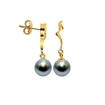 Boucles d'Oreilles Femme Pendantes Perles de Tahiti 8 mm et or jaune 750/1000