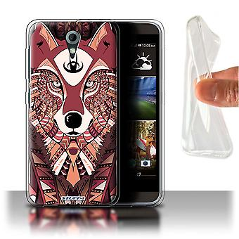 STUFF4 Gel/TPU Case/Cover for HTC Desire 820 Mini/Wolf-Red/Aztec Animal