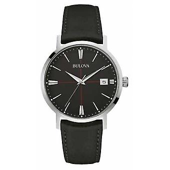 Bulova Mens Black Dial Black Leather Strap 96B243 Watch