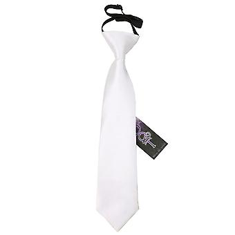 Boy's White Plain Satin Pre-Tied Tie (2-7 years)