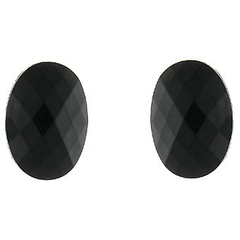 Clip On Earrings Store Black Oval Facet Button Clip On Earrings