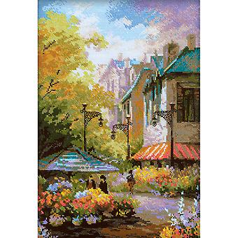 Flower Street geteld Cross Stitch Kit-10.25