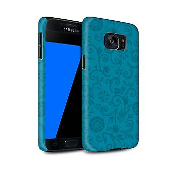 STUFF4 Matte Tough Shock Proof Phone Case für Samsung Galaxy S7/G930/Blau Blume/Wirbel Blumenmuster