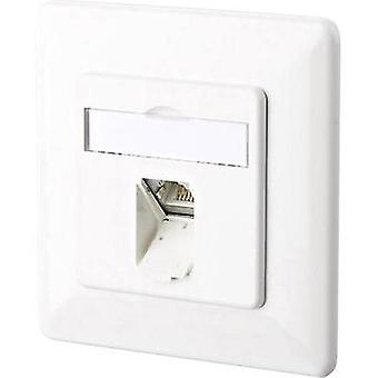 Network outlet Flush mount Insert with main panel and frame CAT 6 1 port Metz Connect 1307371002-I Pure white