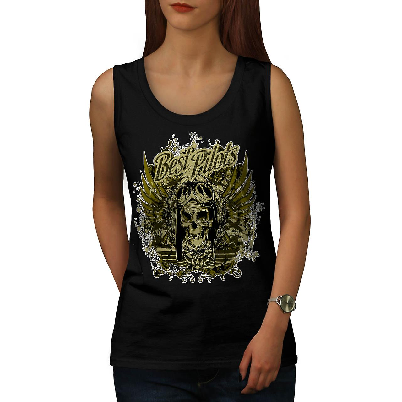 Best Pilot Fly Plane Flight Hell Women Black Tank Top | Wellcoda