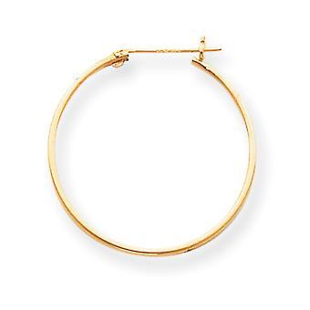 14k Gold 1mm Hoop Earrings - .6 Grams - Measures 25x25mm