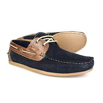 Red Tape Stratton Navy Suede And Leather Mens Casual Boat Shoes