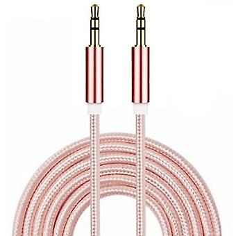 ONX3 (Rose Gold) Premium Quality Nylon Braided 2 Meter Length Gold Plated 3.5 mm Jack To Jack Connection Aux Auxiliary Audio Cable for Huawei Y6 / Huawei Honor 4A