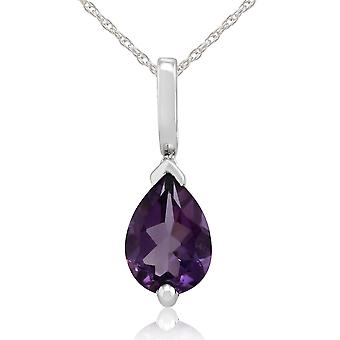 Gemondo 9ct White Gold 0.58ct Pear Cut Amethyst Classic Pendant on 45cm Chain