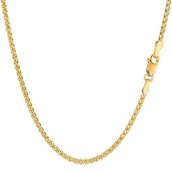 14k Yellow Gold Round Wheat Chain Necklace, 2.1mm