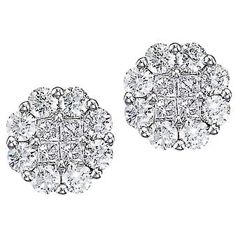 14K White Gold 1.50 ct Diamond Clustaire Stud Earrings
