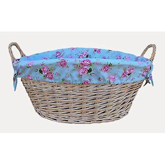 White Finish Cottage Rose Lined Wash Basket