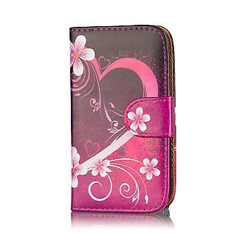 Design bok plånbok PU läder fallet täcker för Nokia Lumia 530 - kärlek hjärta