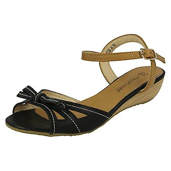 Ladies Anne Michelle Open Toe Bow Detail Sandals