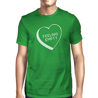 Feeling Empty Heart Men's Green Crew Neck T-Shirt Funny Graphic