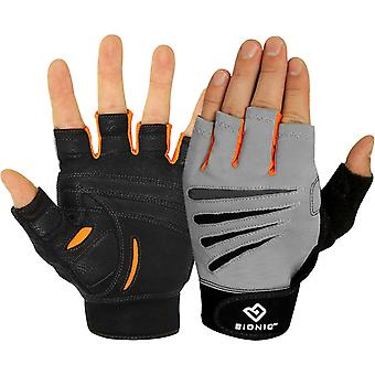 Bionic Men's Cross-Training Premium Fingerless Fitness Gloves -Gray/Black/Orange