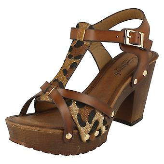 Ladies Savannah High Platform Wood Clog Cheetah Print Sandals F10561