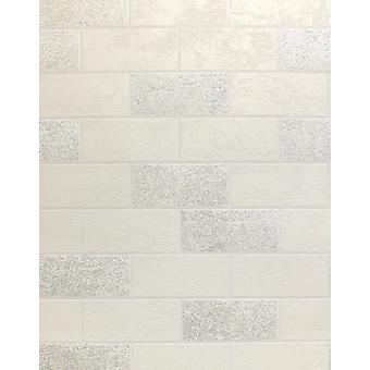 Brick Effect Wallpaper Tile Glitter Luxury Washable Vinyl White Silver