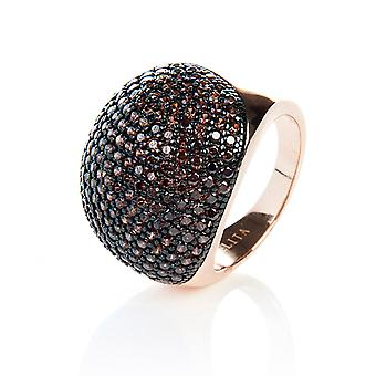 22ct Rose Gold Vermeil Micro Pave Statement Cocktail  Ball Ring - Chocolate Zircon