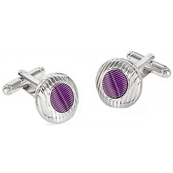 Duncan Walton Sulston Rhodium Plated Grooved Resin Cufflinks - Purple/Silver