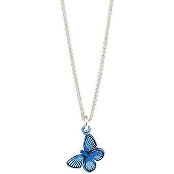 Ti2 Titanium Woodland Medium Butterfly Pendant - Blue