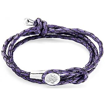 Anchor and Crew Dundee Silver and Leather Bracelet - Grape Purple