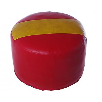 Seat cushion seat stool around Spain art leather red-yellow-red 50 x 50 x 34 cm