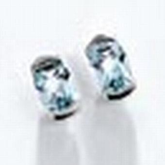 Earring studs, 585 / - white gold, 2 blue topazes, height CA. 9 mm, earrings women's