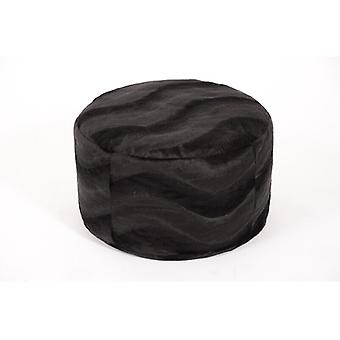 Cushion stool round pouf PANTHER black width 50 cm, height 34 cm