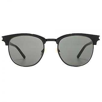 Saint Laurent SL 108 Browline Style Sunglasses In Black Grey