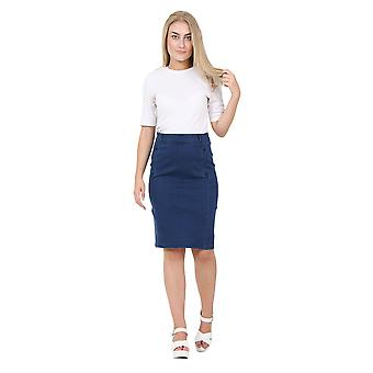 Knee-length Darkwash Denim Pencil Skirt Denim Midi Skirt with stretch