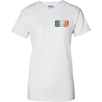Ireland Grunge Country Name Flag Effect - Irish Tricolour - Ladies Chest Design T-Shirt