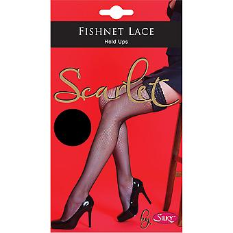 Silky Womens/Ladies Scarlet Fishnet Lace Top Hold Ups (1 Pair)