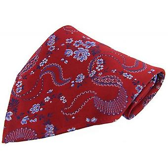 David Van Hagen Floral Silk Handkerchief - Red