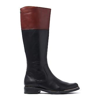 Women's Tall Combi Boots - Black & Cognac Leather
